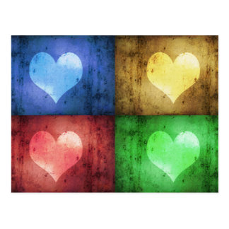 Coloured Grunge Hearts - Postcard