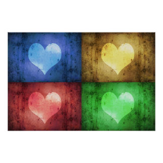 Coloured Grunge Hearts - Poster Print