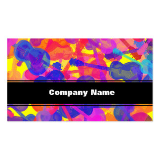 Coloured Guitar Collage Business Cards