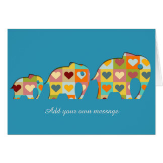 Coloured Hearts Elephants Papercut Style Card