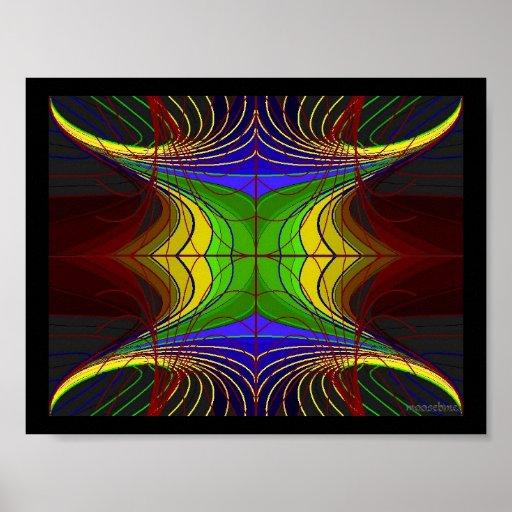 Coloured Horn Flower Lines on Slate Poster