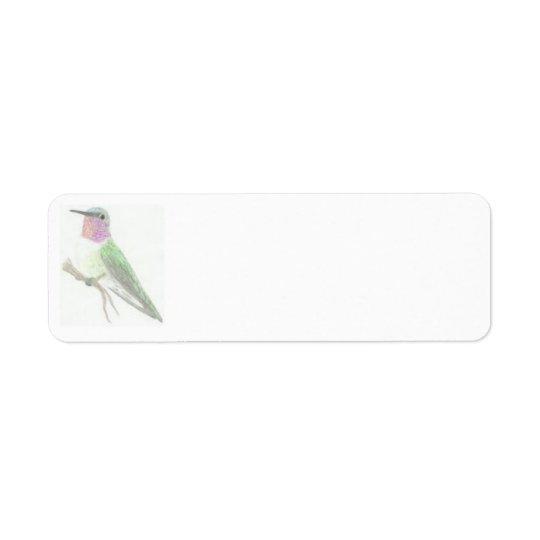 Coloured Hummingbird Drawing Label