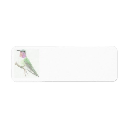 Coloured Hummingbird Drawing Label Return Address Label