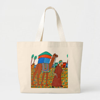 Coloured Illustration of Camel and Arab Canvas Bag