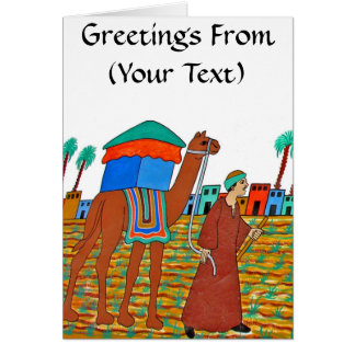 Coloured Illustration of Camel and Arab Greeting Card