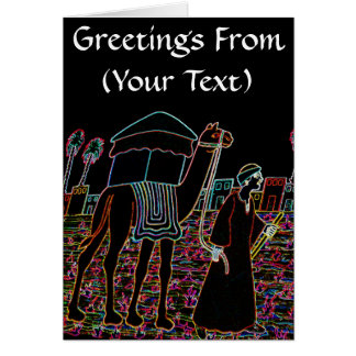 Coloured Illustration of Camel and Arab Outline Greeting Cards