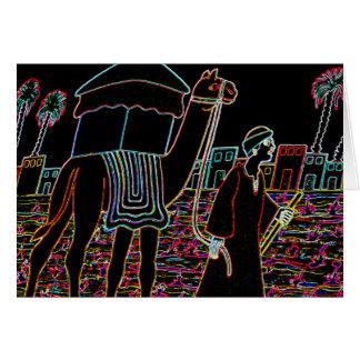 Coloured Illustration of Camel and Arab Outline Card