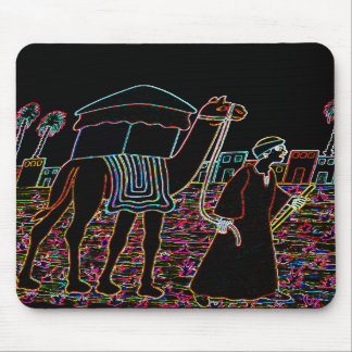 Coloured Illustration of Camel and Arab Outline Mousepads