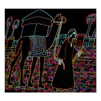Coloured Illustration of Camel and Arab Outline Posters