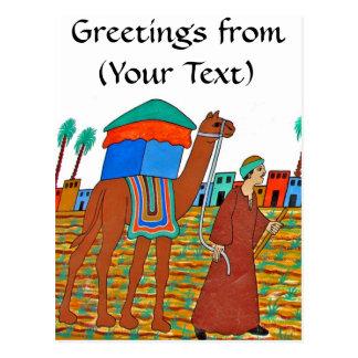 Coloured Illustration of Camel and Arab Postcards