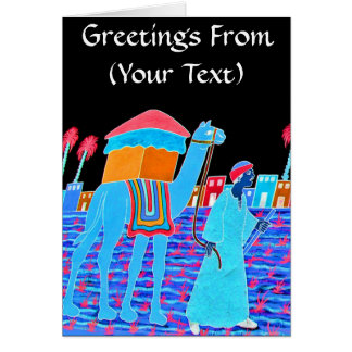 Coloured Illustration of Camel and Arab (Stylised) Greeting Cards