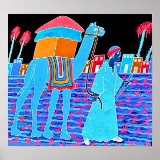 Coloured Illustration of Camel and Arab Stylised Print