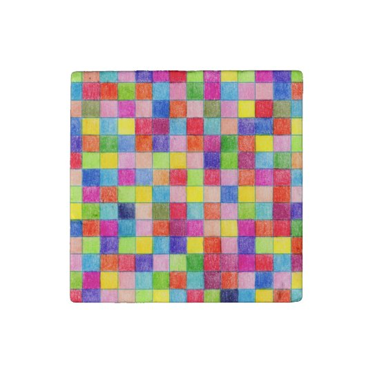 Coloured In Graph Paper Squares Stone Magnet