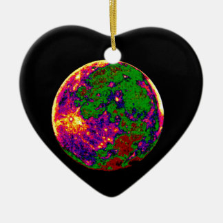 coloured moon ceramic heart decoration