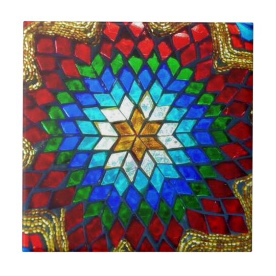Coloured mosaic art tile