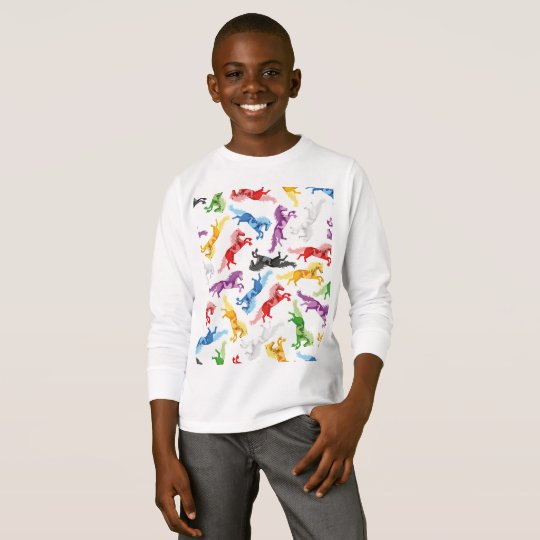 Coloured Pattern jumping Horses T-Shirt