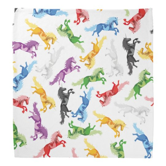 Coloured Pattern Unicorn Bandana