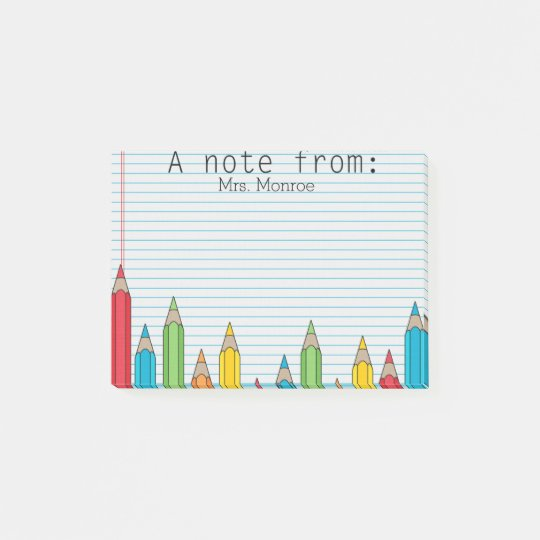 Coloured Pencil Personalised Teacher Post It Note