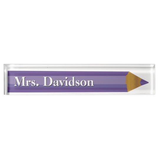 Coloured Pencil Teacher's Custom Desk Nameplate