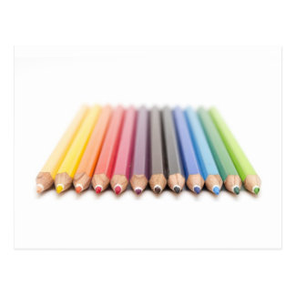Coloured pencils in a rainbow postcard