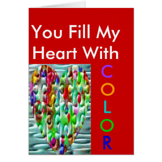 Coloured Puzzled Hearts Greeting Card