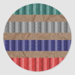 Coloured Ribbed Cardboard Brown Paper Round Sticker