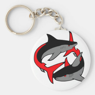coloured sharks key ring
