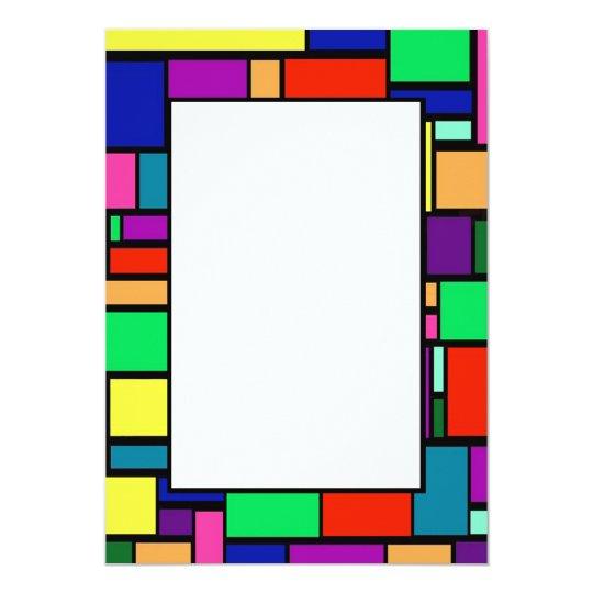 Coloured Squares Border 1 Invitation
