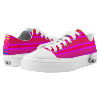 Coloured striped pattern printed shoes