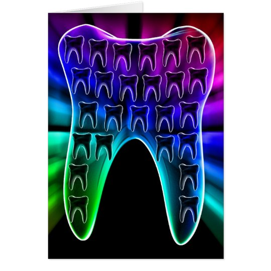 Coloured Tooth Dental Art Greeting Card