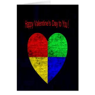 Coloured Woodgrain  Blocks Heart Valentine's Day Greeting Card