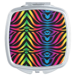 Coloured Zebra print compact Mirror For Makeup
