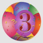 Colourful 3rd birthday balloon stickers