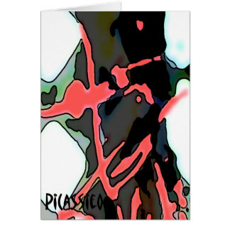Colourful Abstract Art Note Card Flamingo Pink