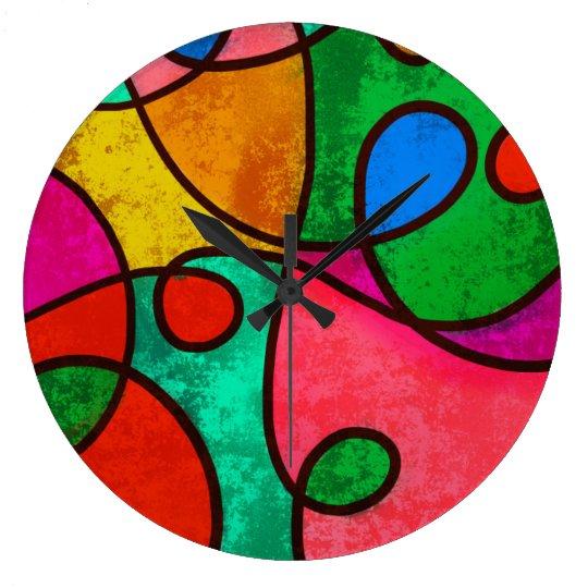 Colourful Abstract Art Wall Clock