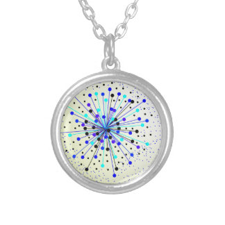 Colourful Abstract Background Silver Plated Necklace