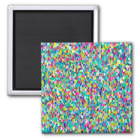 Colourful Abstract Blue And Purple Grid Magnet