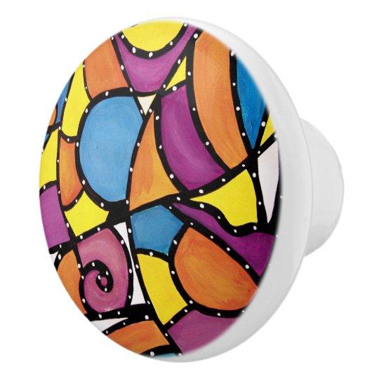 Colourful Abstract Bright Colours Ceramic Knob