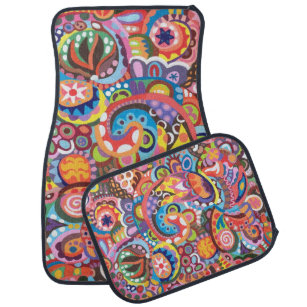 Colourful Abstract Car Mats   Full Set Of 4 Mats