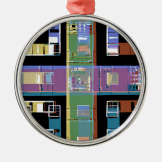 Colourful abstract city apartments christmas ornament