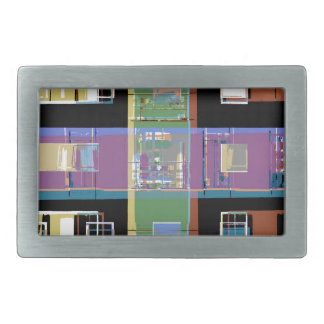 Colourful abstract city apartments rectangular belt buckle