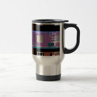 Colourful abstract city apartments travel mug
