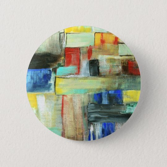 Colourful Abstract Cityscape Original Art Painting 6 Cm Round Badge