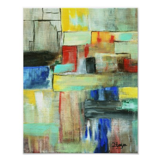 Colourful Abstract Cityscape Original Art Painting Poster