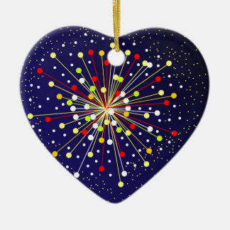 Colourful Abstract Explosion Ceramic Heart Decoration