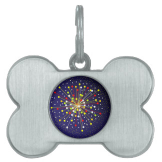 Colourful Abstract Explosion Pet Name Tag