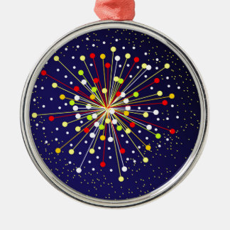 Colourful Abstract Explosion Silver-Colored Round Decoration