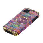 Colourful Abstract Floral Collage-Monogram iPhone 4/4S Cover