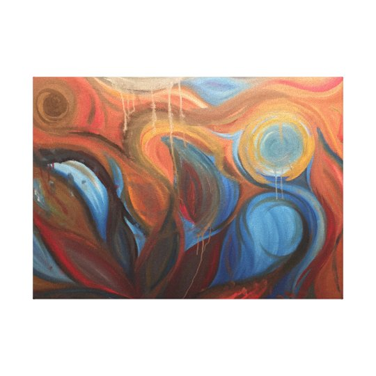 Colourful Abstract Flowing Lotus Woman Painting Canvas Print