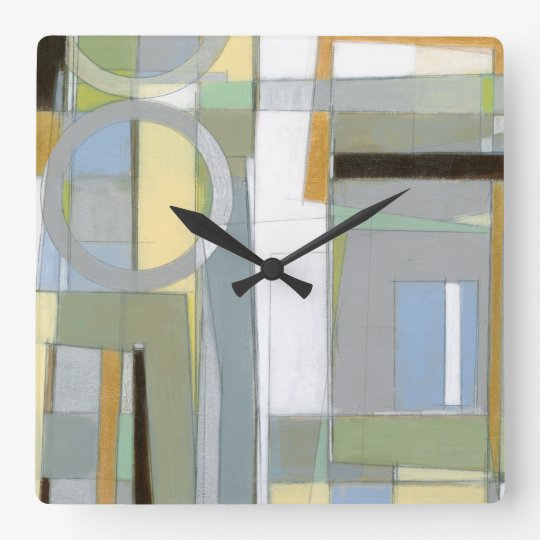 Colourful Abstract Geometric Shapes Wall Clock